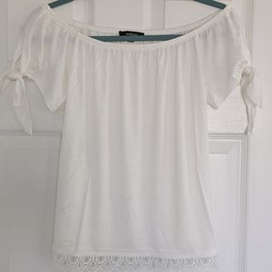 Ambiance off shoulder top with ties, Lace …